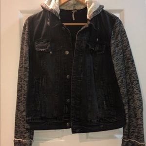 Free People Knit Denim Hooded Jacket